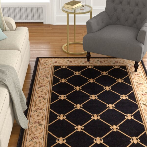 Colindale Fleur De Lis Black Area Rug by Astoria Grand