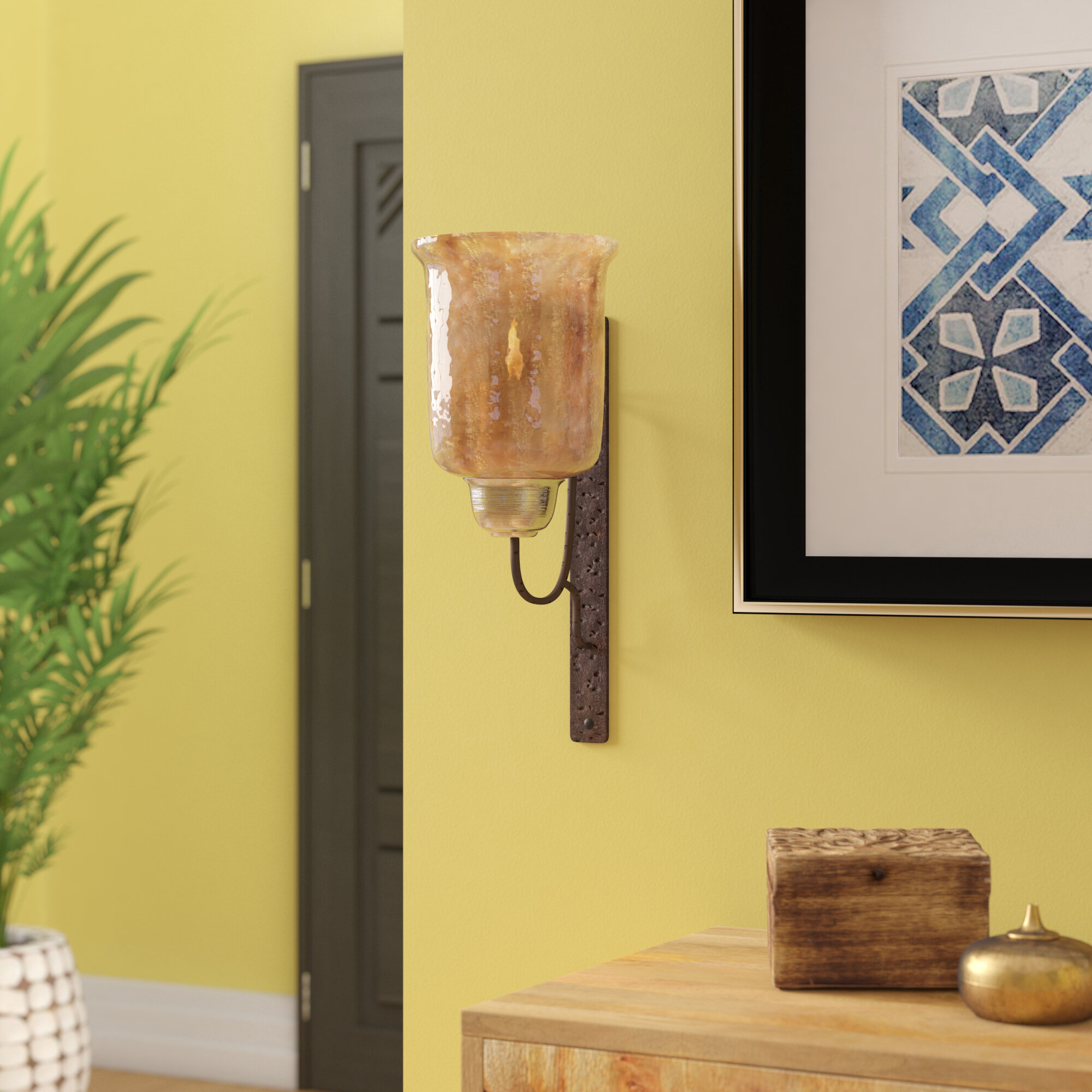 World Menagerie Metal and Glass Sconce & Reviews | Wayfair