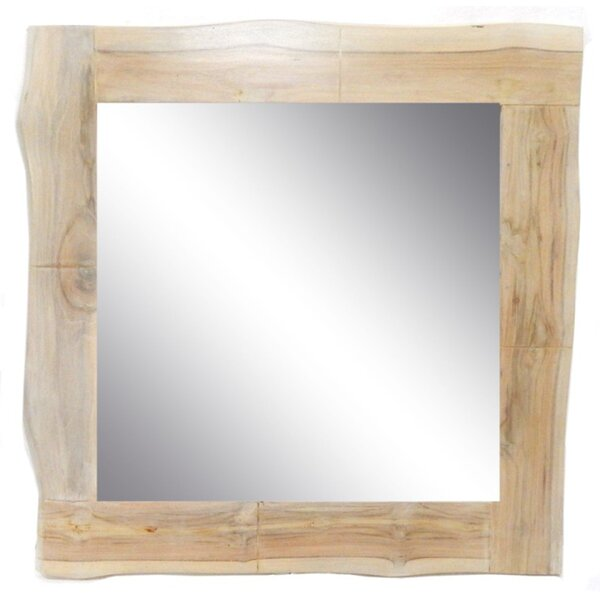 Square Live Edge Teak Wood Accent Mirror by Loon Peak