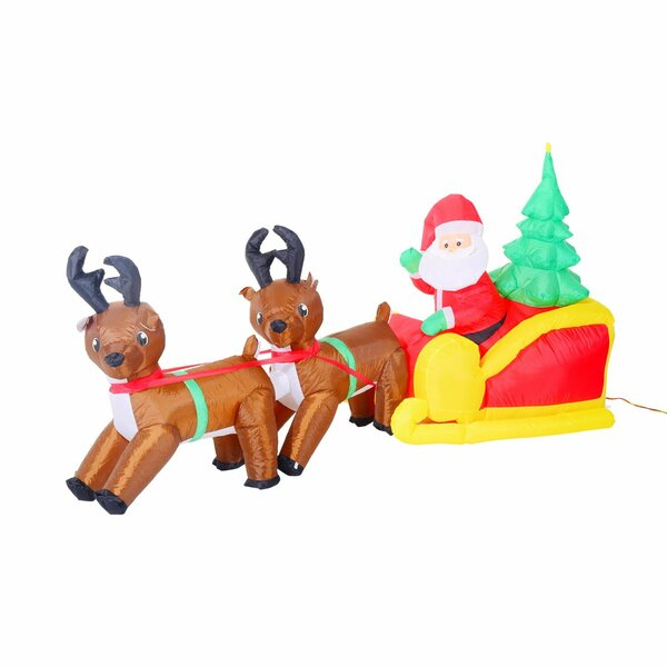 homcom inflatable led lit christmas santa and reindeer lawn yard decoration reviews wayfair