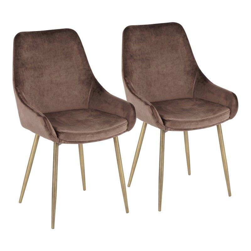 Orren Ellis  Verrett Upholstered Dining Chair Upholstery Color: Chocolate Brown
