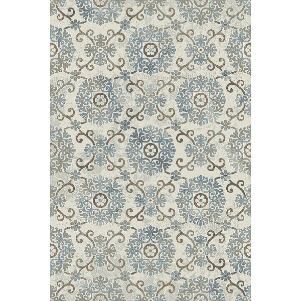Lower West Side Ivory/Blue Area Rug by Winston Porter