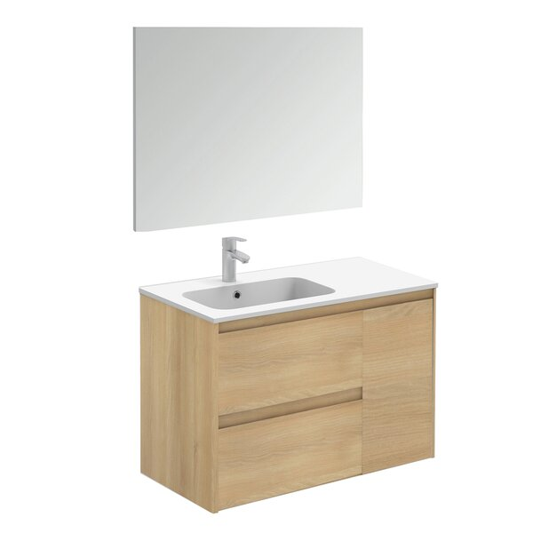 Ambra 36 Wall Mounted Single Bathroom Vanity Set with Mirror by WS Bath Collections