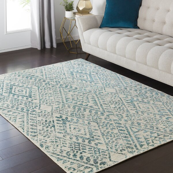 Puran Teal/Cream Area Rug by Bungalow Rose