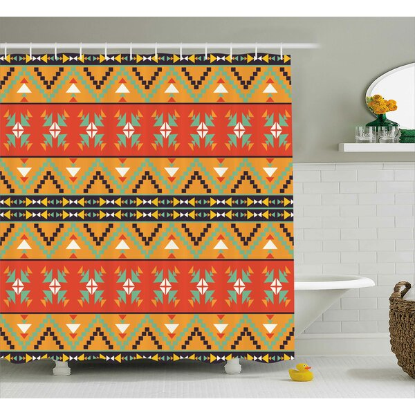 Burnestown Abstract Tribal Decor Aztec Motifs With Zigzags Geometric Design Pattern Shower Curtain by Loon Peak