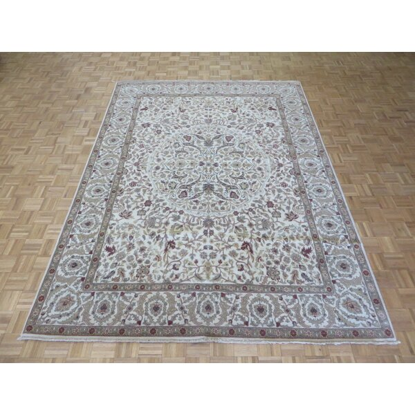 One-of-a-Kind Railsback Oushak Hand-Knotted Wool Ivory Area Rug by Astoria Grand