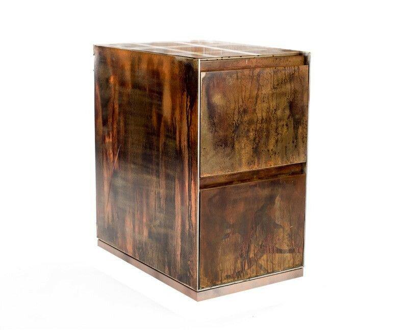 2 Drawer Open Top Vintage File Cabinet