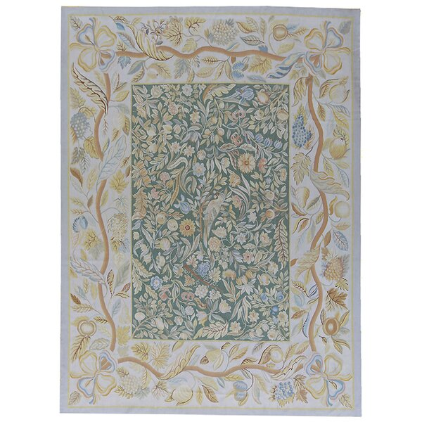 Aubusson Hand-Woven Wool Blue/Green Area Rug by Pasargad