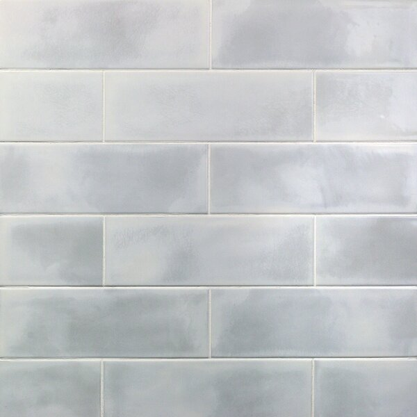 Piston Industrial Glass 4 x 12 Porcelain Subway Tile in White by Splashback Tile