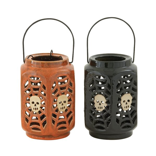Halloween Ceramic Lantern (Set of 2) by Brayden Studio