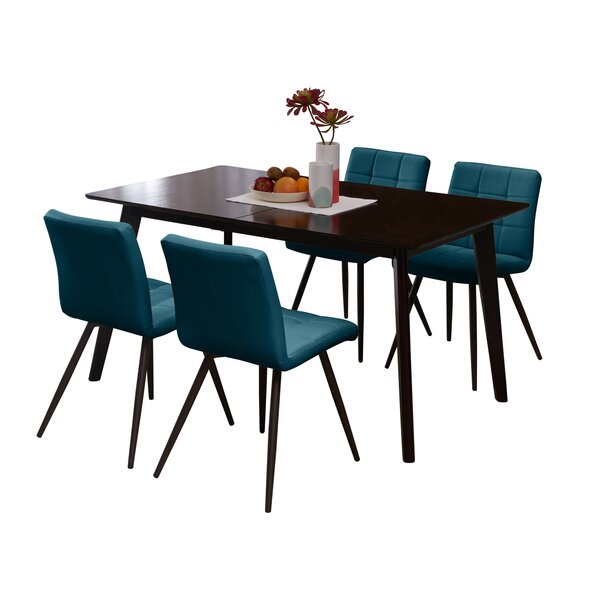Mcewen Rectangle Armless Tufted 5 Piece Dining Set by Wrought Studio