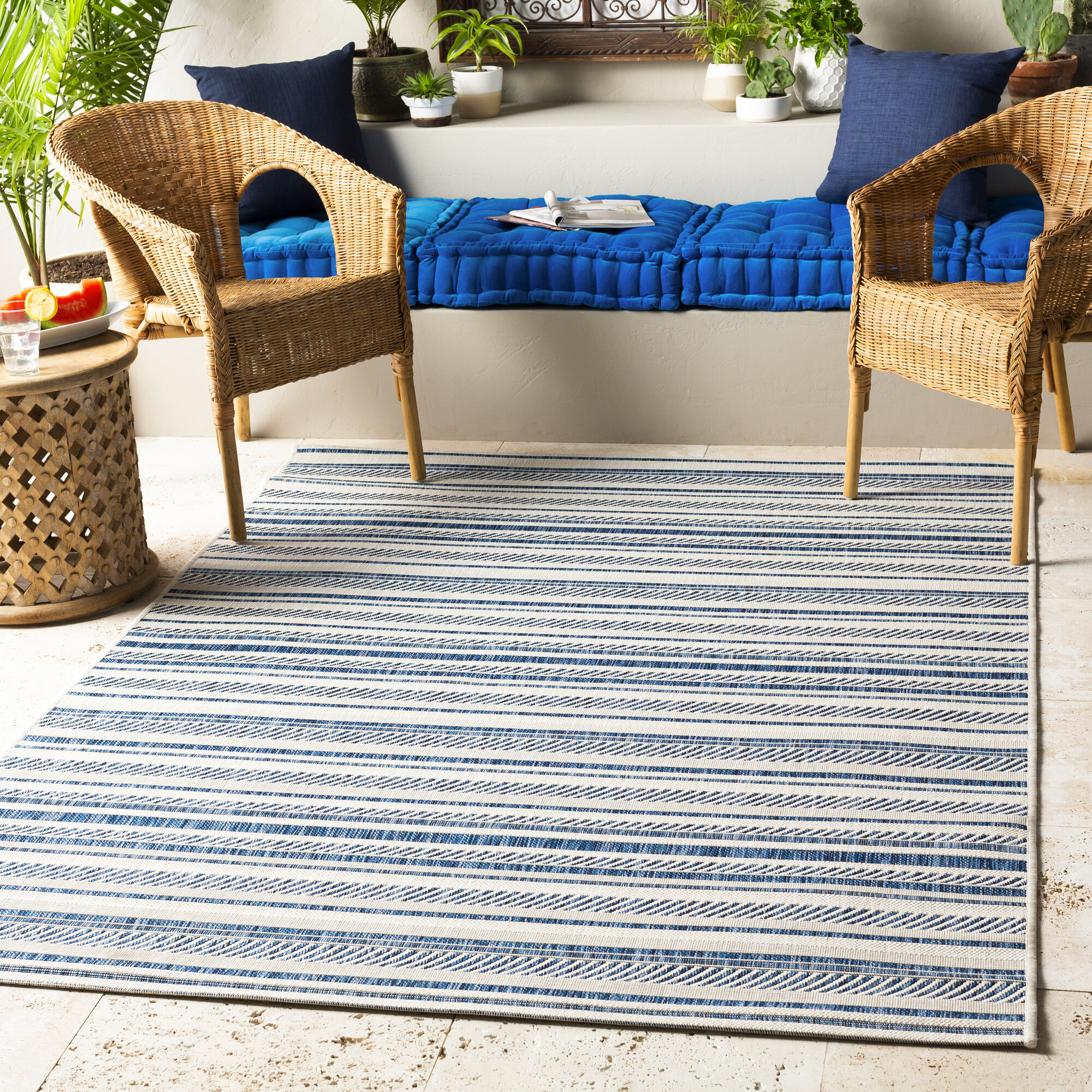 Toulouse Navy Indoor Outdoor Area Rug