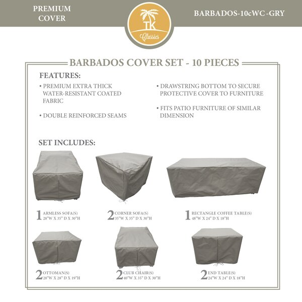 Barbados 10 Piece Water Resistant Patio Chair Cover Set (Set of 10) by TK Classics