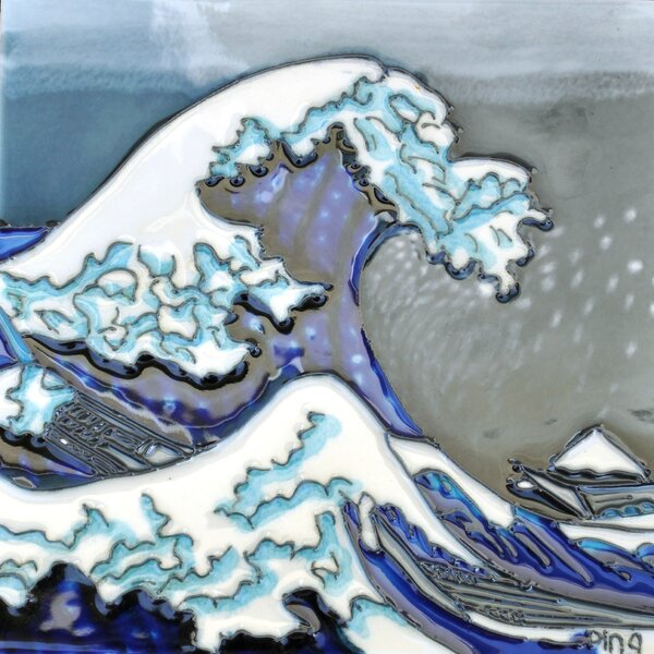 Great Wave Tile Wall Decor by Continental Art Center