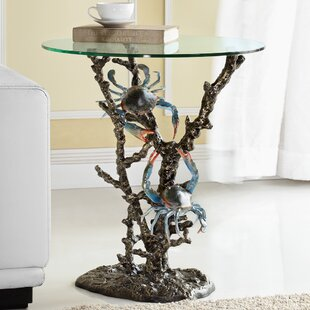 Online Reviews Crabs and Coral End Table By SPI Home