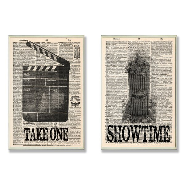 Take One and Showtime Movie 2 Piece Textual Art Wall Plaque Set by Stupell Industries