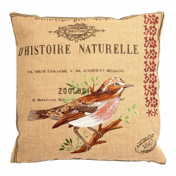 Ambler Garden Theme Embroidery Square Jute Throw Pillow by August Grove