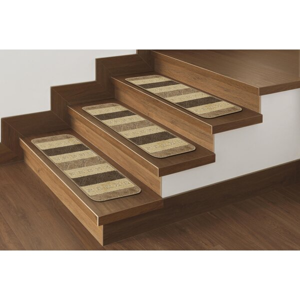 Carreras Striped Brown Stair Tread (Set of 7) by Andover Mills