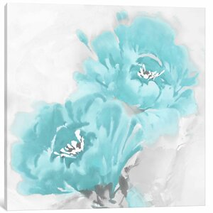 'Flower Bloom in Aqua I' Painting Print on Canvas by East Urban Home