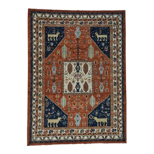 Chad Ancient Animal Hand-Knotted Rust Red/Ivory Area Rug by Bloomsbury Market