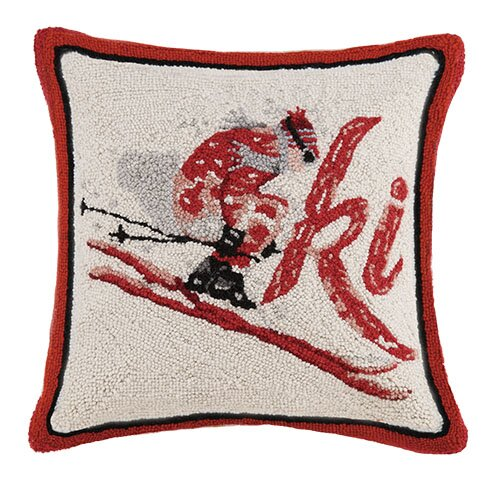 Ski Hook Wool Throw Pillow by Mary Lake Thompson