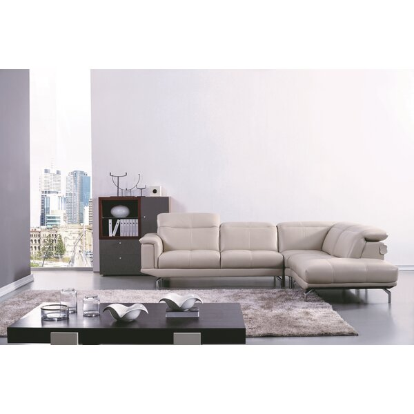 Zahara Thick Leather Sectional By Orren Ellis