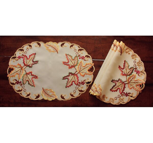Moisson Leaf Embroidered Cutwork Fall Placemat (Se