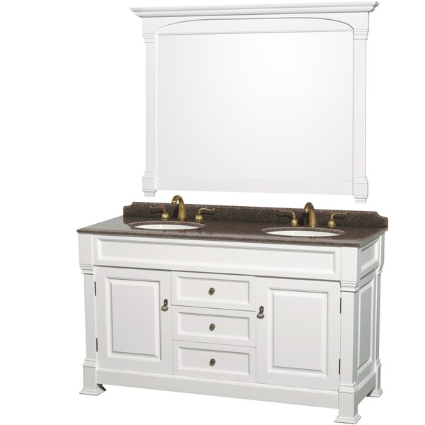 Andover 60 Double White Bathroom Vanity Set with Mirror by Wyndham Collection