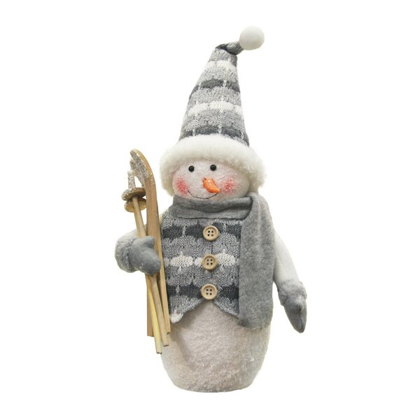 Alpine Chic Sparkling Snowman with Skis Christmas Stuffed Holiday Accent by The Holiday Aisle