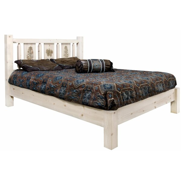 Tustin Laser Engraved Pine Tree Design Platform Bed by Loon Peak