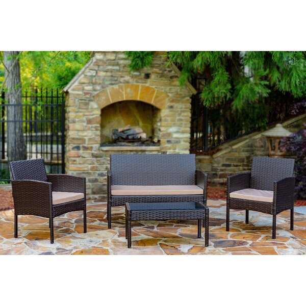 Tessio 4 Piece Rattan Seating Group With Cushions By World Menagerie