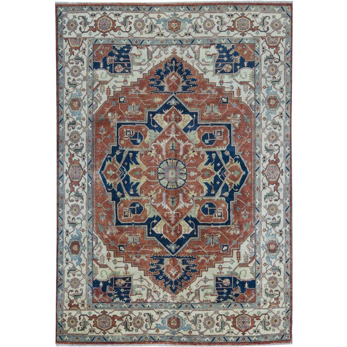 One Of A Kind Heriz Hand Knotted 9 11 X 14 Wool Red Beige Area Rug
