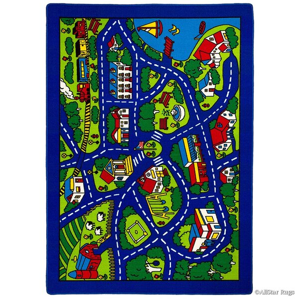 Street Map Blue/Green Area Rug by AllStar Rugs
