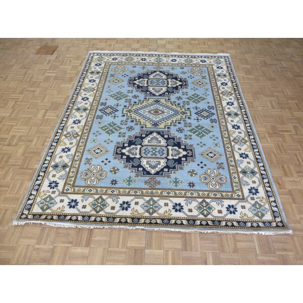 One-of-a-Kind Eliana Tribal Geometric Hand-Knotted Wool Light Blue Area Rug by World Menagerie