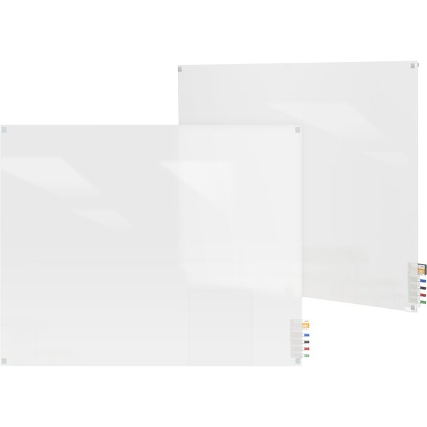 Ghent Harmony Frosted Glass Whiteboard with Square Corners by Ghent