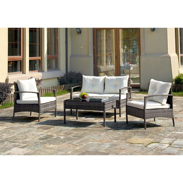 Shen 4 Piece Sofa Seating Group with Cushions by Highland Dunes