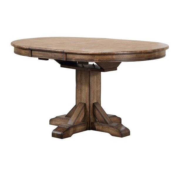 Rutledge Pedestal Extendable Solid Wood Dining Table by Rosecliff Heights