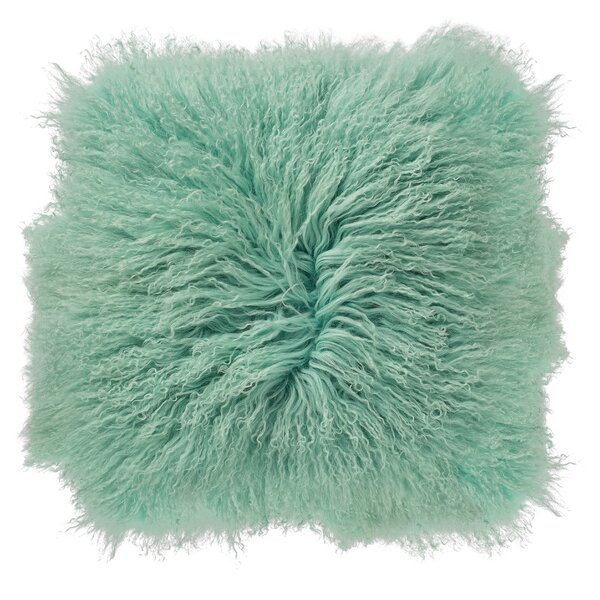 Moris Mongolian Lamb Fur Throw Pillow by House of Hampton