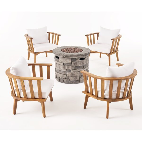 Maggie Outdoor Multiple Chairs Seating Group with Cushion by Rosecliff Heights