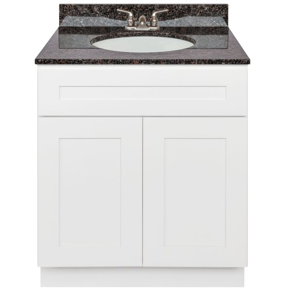 Stiltner 30 Vanity Cabinet Alpina White + Absolute Black Granite Top + Faucet by Winston Porter