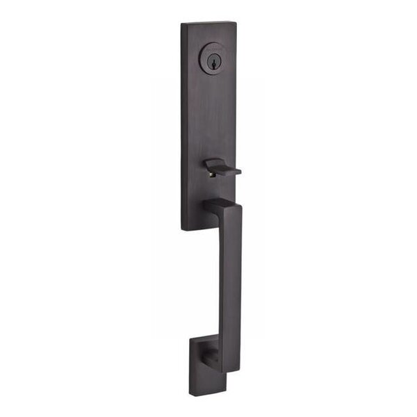 Seattle Single Cylinder Handleset with Round Door Knob and Contemporary Square Rose with Smartkey by Baldwin