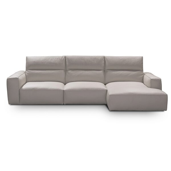 Savini Leather Left Hand Facing Sectional by Castello Castello