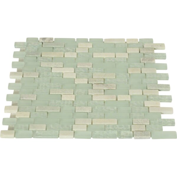 Random Sized Mixed Material Mosaic Tile in Green by Splashback Tile