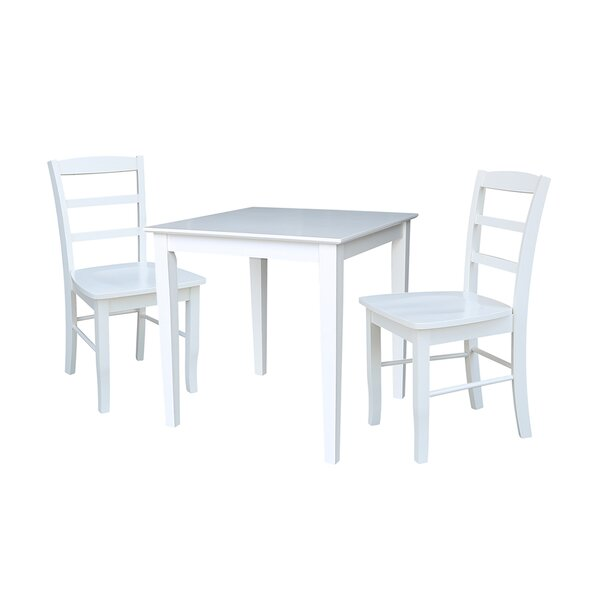 Croce 3 Piece Solid Wood Dining Set by Rosecliff Heights
