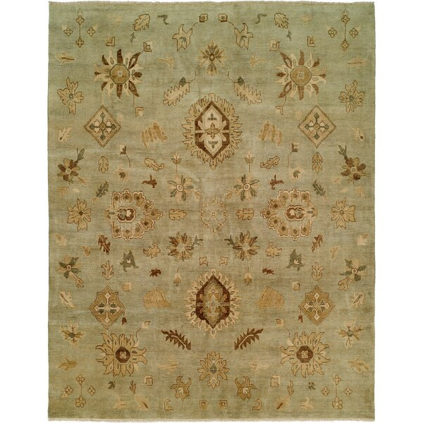 Seattle Hand-Knotted Green Area Rug by Wildon Home ®
