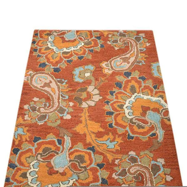 Volmer Hand-Tufted Wool Orange/Blue/Brown Area Rug by World Menagerie