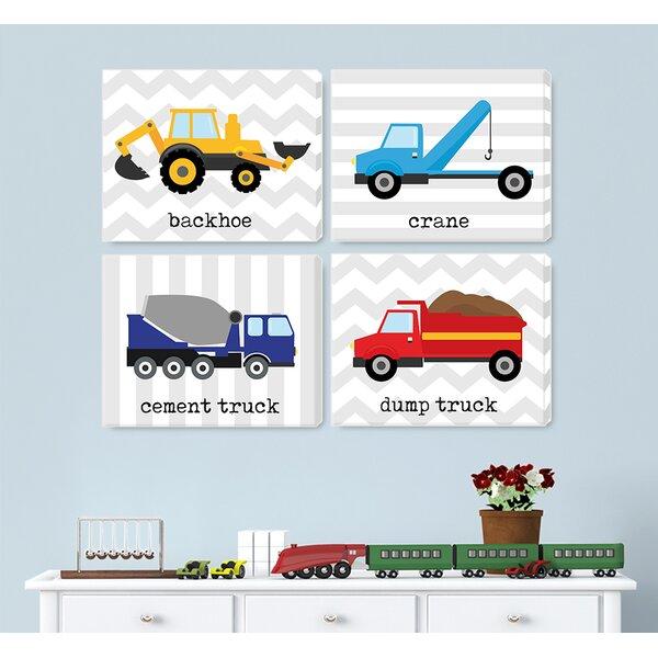 4 Piece Kids Trucks Gray on Wrapped Canvas Art Set by Jolie Prints