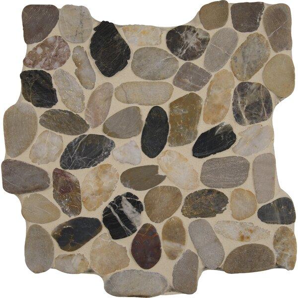 Mix River 12 x 12 Quartz Pebble Mosaic Tile in Gray/Beige by MSI