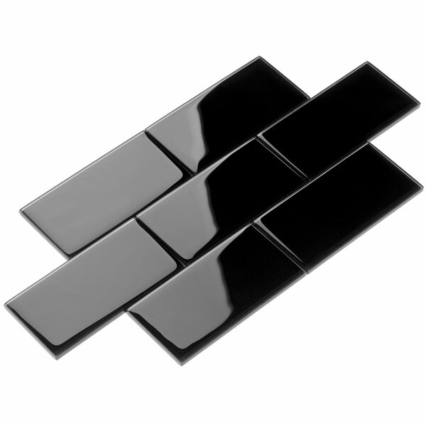 3 x 6 Glass Subway Tile in Black by Giorbello