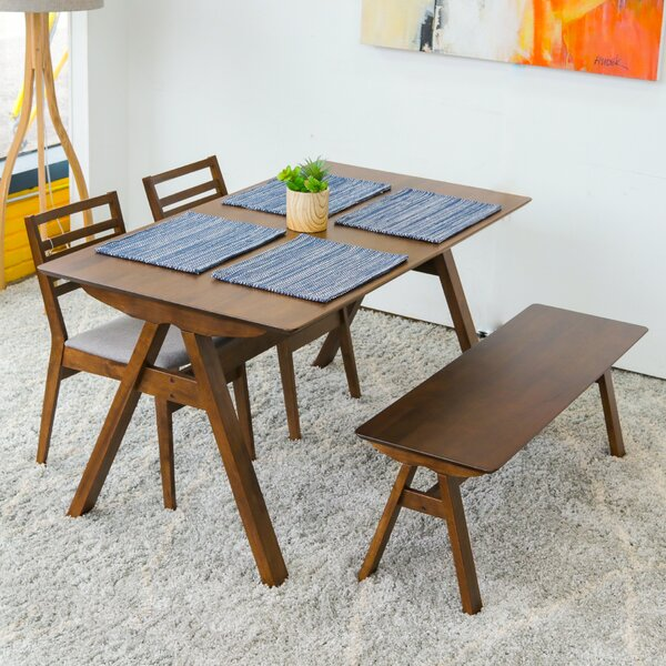 Abagail 4 Piece Solid Wood Dining Set By Union Rustic Great Reviews